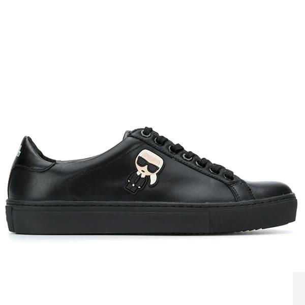 Karl Lagerfeld 卡爾 老佛爺 女鞋 KUPSOLE Q版綁帶休閒鞋-黑