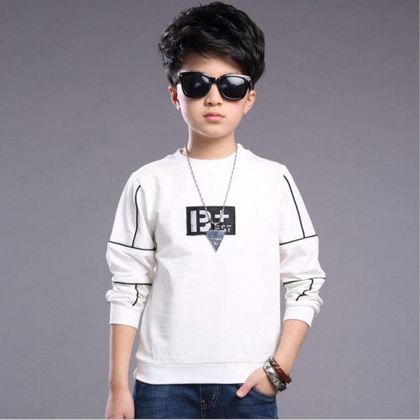 衣童趣♥韓版 線條 字母 男童上衣 字母長袖圓領T 休閒百搭款上衣