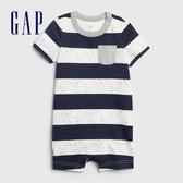 Gap 嬰兒 棉質舒適條紋短袖包屁衣 538785-海軍藍色