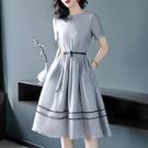 全網熱銷商店 洋裝 淺灰色短袖修身大擺A字裙收腰氣質絲麻連身裙