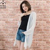 雪紡--飄逸氣質透膚開襟簡約剪裁直條雪紡罩衫(白.黑.粉XL-4L)-J214眼圈熊中大尺碼
