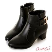 amai《雙面女郎》半方形金屬裝飾粗跟短靴 黑