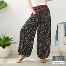 【潘克拉】編織腰頭花紋燈籠褲-F TM853 FREE黑色