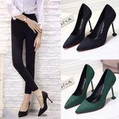 貓跟單鞋新款 高跟鞋女細跟 黑色工作鞋韓版百搭尖頭女鞋大碼    韓小姐的衣櫥