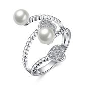 925純銀珍珠戒指-甜美愛心時尚精選生日情人節禮物女飾品73kz17【時尚巴黎】