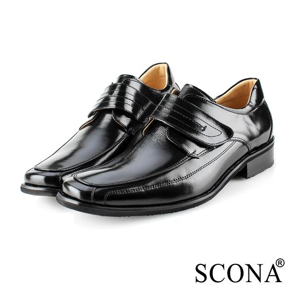 SCONA 蘇格南 全真皮 經典素面側帶紳士鞋 黑色 0863-1