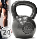 KettleBell實心鑄鐵24公斤壺鈴(52.9磅)運動24KG壺鈴競技.拉環啞鈴搖擺鈴.舉重量訓練用品.重力設備