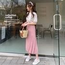 韓國製.簡約假兩件縮腰百褶短袖洋裝.白鳥麗子