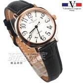 valentino coupeau范倫鐵諾 方圓數字時尚錶 玫瑰金電鍍 防水手錶 真皮 玫瑰金x黑 女錶 V61601W玫黑小