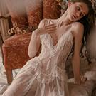 睡衣-一吻情迷(外袍可加購)-iVenus-性感透膚蕾絲荷葉邊細柔網紗誘惑睡裙M/L 玩美維納斯 平價睡衣