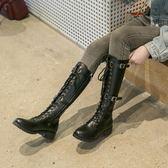 膝上靴 高筒靴女秋冬新款綁帶不過膝靴帥氣長筒靴騎士靴厚底粗跟長靴  魔法鞋櫃