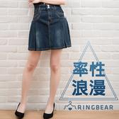 加大尺碼--側邊蕾絲綁帶率性釦環水鑽釦蓋帶口袋大百摺牛仔短裙(牛仔藍S-7L)-Q05眼圈熊中大尺碼