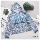 Catworld 圖騰印花鏤空罩衫連帽運動T(長袖款)【11406482】‧S/M/L/XL