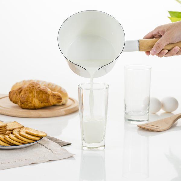 HOLA La Vie 琺瑯牛奶鍋 15cm 白色款