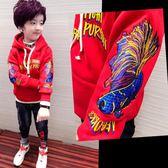 兒童衛衣  男童加絨加厚衛衣中大童韓版兒童連帽保暖上衣童裝潮  伊蘿鞋包精品店