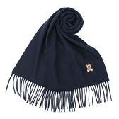 MOSCHINO 義大利製羊毛小熊圖騰字母LOGO刺繡圍巾(深藍色)911001-013