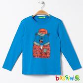 印花長袖T恤05天藍-bossini男童