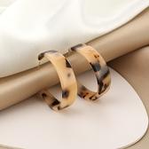 豹紋耳圈 925銀針豹紋C型耳圈韓國新款亞克力耳環個性誇張耳飾GDB507-B.81975 胖丫