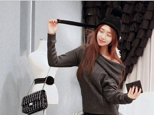 韓國 鈕扣黑色針織帽 保暖針織帽  帽子