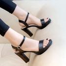 2021年夏季新款一字扣帶高跟鞋粗跟防水臺白色皮面百搭涼鞋仙女風