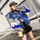 【限時下殺89折】歐洲站好康推薦秋季新品流蘇針織袖拼接牛仔短外套女學生寬鬆夾克上衣