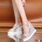 Bbay 楔型涼鞋 坡跟涼鞋 防水臺 一字帶 魚嘴鞋 女鞋
