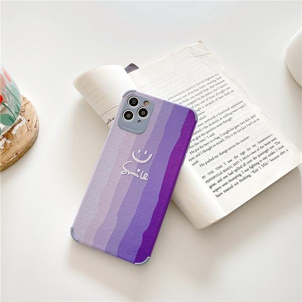 iPhone12 蘋果手機殼 預購 可掛繩 紫色漸層笑臉 矽膠軟殼 i11/iX/i8/i7/SE