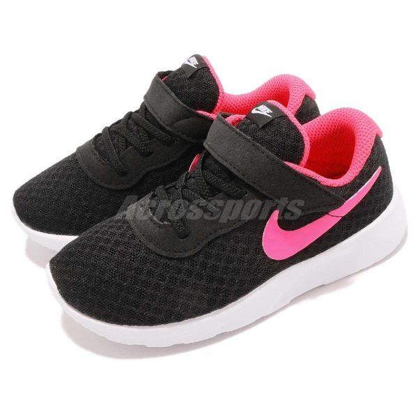 Nike 休閒鞋 Tanjun TDV 黑 白 桃紅 免綁鞋帶 運動鞋 魔鬼氈 童鞋 小童鞋【PUMP306】 818386-061