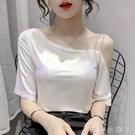 白色短袖t恤女寬松2021夏裝新款設計感鎖骨一字領露肩性感上衣服 蘿莉新品