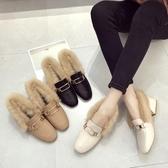 網紅加絨毛毛鞋女秋冬外穿新款百搭時尚中跟粗跟網紅豆豆鞋子 夢幻衣都