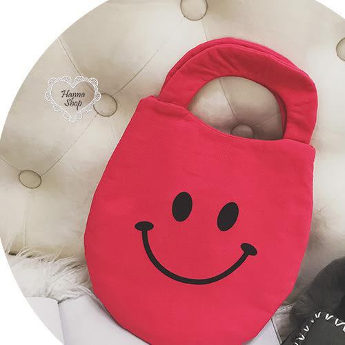 《花花創意会社》萌萌噠。笑臉原宿棉質小手提包。四色【H5988】