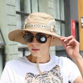 戶外帽子男夏天漁夫帽夏季遮陽帽男士防曬帽太陽帽韓版沙灘釣魚帽【叢林之家】