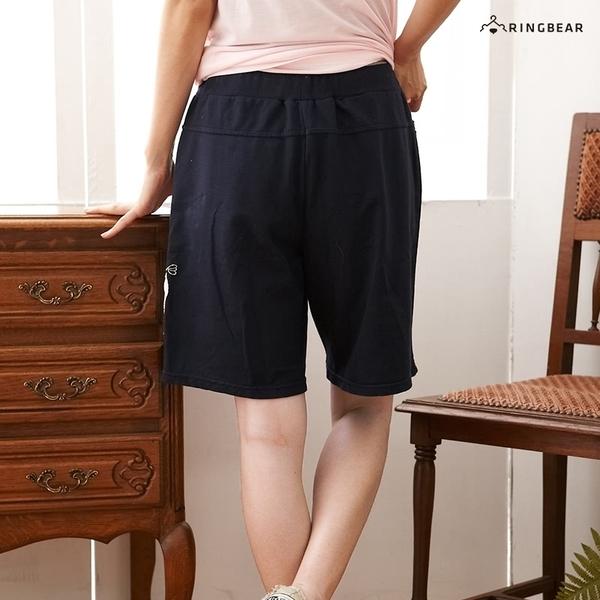 五分褲--童趣可愛長頸鹿貼布抽繩褲頭素面棉質短褲(黑.灰.藍XL-4L)-R92眼圈熊中大尺碼