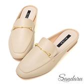 訂製鞋 金飾方頭皮革穆勒鞋-米
