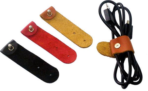 數據線USB線充電線真皮捆線器捲線帶-3色1組