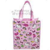 〔小禮堂〕Hello Kitty 方型不織布購物袋《粉.恐龍》補習袋.手提袋.環保袋 0840805-13022