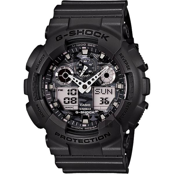 CASIO 卡西歐 G-SHOCK 經典雙顯手錶-迷彩灰 GA-100CF-8A / GA-100CF-8ADR