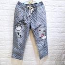 棒棒糖童裝(Y5352)女裝鬆緊腰抽繩個性條紋滿版星星貼布牛仔九分褲XL