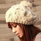百搭韓版麻花貝雷帽毛線秋冬季針織套頭帽韓國女冬天帽子休閒潮  快速出貨