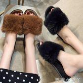 一字拖拖鞋ins女春季新款外穿時尚學生平底毛毛外出涼子潮 蘿莉小腳丫