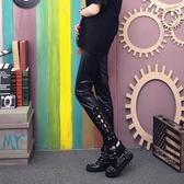 皮褲女2019新款薄款外穿亞光黑色仿皮褲個性鏤空綁帶破洞打底褲潮
