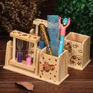 雙沙漏筆筒木質工藝品擺件學生禮品畢業禮物...