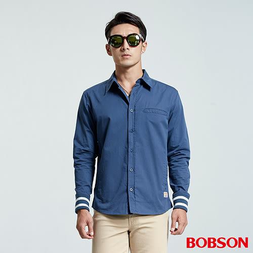 BOBSON 男款襯衫式薄藍色外套(35004-52)
