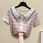 2020夏季新款彩色條紋娃娃領短袖T恤女小香風設計感鏤空露背上衣 雙11提前購