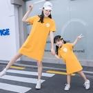 親子裝 親子裝夏裝2020新款女童中長款短袖T恤母女裝洋氣韓版寬鬆上衣潮