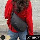 [現貨] 包包 側肩背 斜肩背 斜胯  腰包 胸包 韓系復古文青純色質感皮革 黑/杏色 H2039 OT SHOP