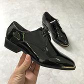 日本外貿秋牛津鞋女低跟漆皮亮面金屬邊條尖頭繫帶單鞋 奇思妙想屋