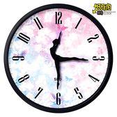 跳舞裝飾靜音時尚臥室芭蕾舞蹈鐘表掛鐘客廳創意個性藝術圓形時鐘