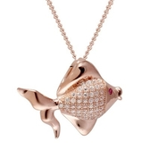項鍊 玫瑰金純銀鑲鑽吊墜-氣質首選生日情人節禮物女飾品73dk448【時尚巴黎】