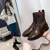 襪套靴.韓版學院風拼接針織彈力馬丁短靴.白鳥麗子